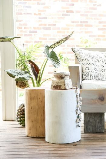 Hendrix and Harlow Log Stools $200 - Choose a colour  - A simple and creative design using recycled timber logs, our stools are wax polished and painted allowing the top or sides to show the beautiful wood grain finish. Perfect as a side table for your bedroom or lounge room, or looks great as a unique alternative to regular stools around any table. Mix and match colours to create your on style. #hendrixandharlow #logstool #white