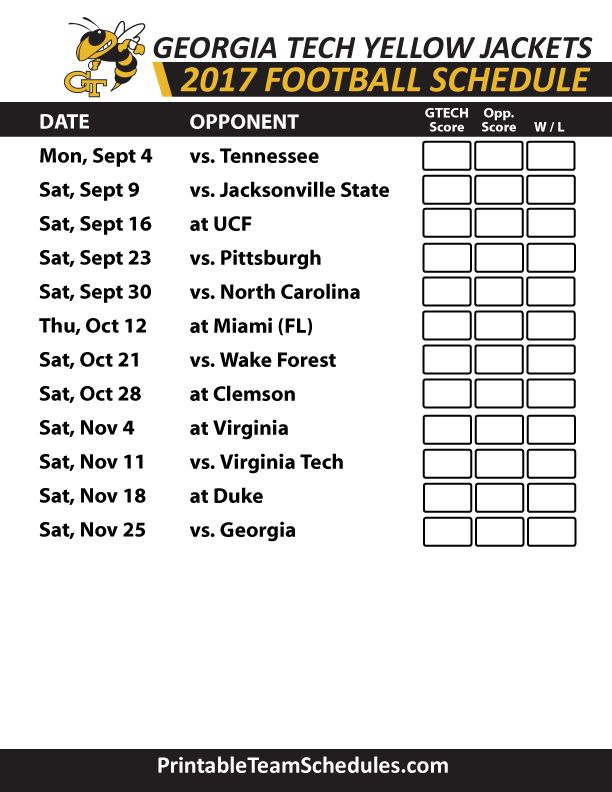2017 Georgia Tech Yellow Jackets Football Schedule