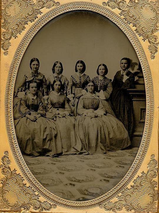 OVERSIZE WHOLE PLATE AMBROTYPE, GIRLS' GRADUATION CLASS.
