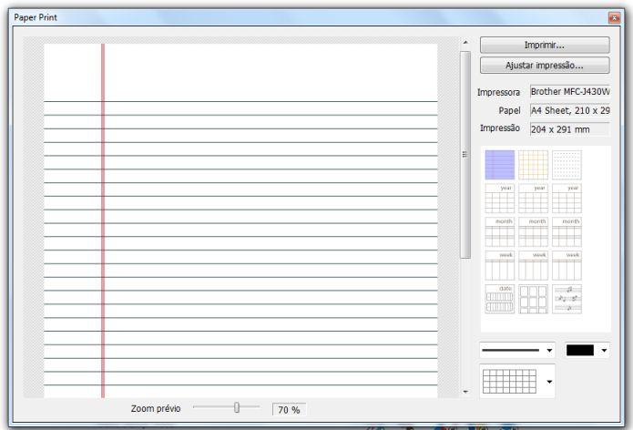 É possível imprimir calendários, folhas forradas e cartões de visitas (Foto: Reprodução/Lívia Dâmaso)