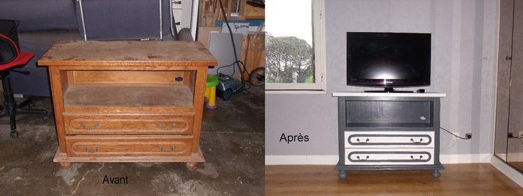 avant apr s un ancien meuble t l revisit avant apr s pinterest avant apr s meuble t l. Black Bedroom Furniture Sets. Home Design Ideas