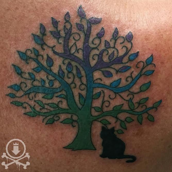Lovely tree and cat silhouette tattoo by Tami Rose.  #12ozstudios #team12oz #tattoos #tattooartist #tattoosforwomen #tree #cat