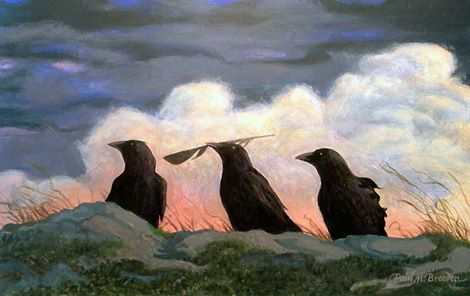 """An Offering To The Wind""::by Paul M. Breeden. ""I saw a huge flock of crows feasting on wild blueberries. They were spread out all over a field. Three crows sat at the top of the field. The central crow had a feather in his beak and moved it back and forth as if showing it to the other two. This must have been a very important five minute ceremony. I just had to do a painting of it."