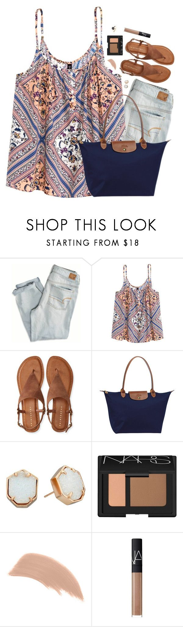 Morning Everyone! by southernstylish ❤ liked on Polyvore featuring American Eagle Outfitters, HM, Aéropostale, Longchamp, Kendra Scott, NARS Cosmetics, Bare Escentuals and Latelita