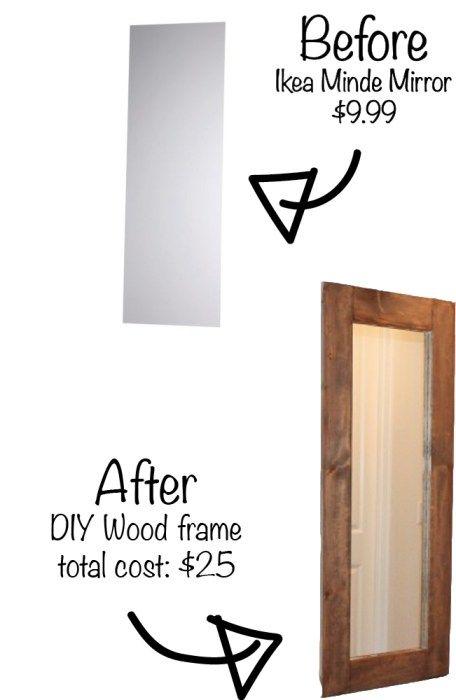 DIY wood framed mirror.. IKEA Minde hack for only $30