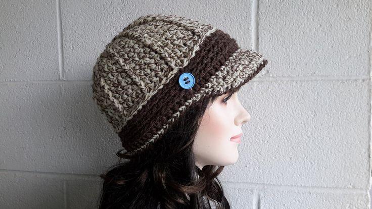 Newsboy woman visor hat Crochet Hat Winter Hats Knit Buckle Beanie brimmed womens winter hats Driver Cap Wool newsboys BEANIE winter hat by HandMadeFashions on Etsy