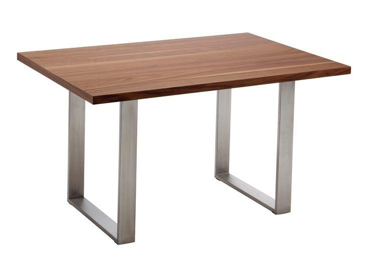 Esstisch Hydra Gestell Edelstahl gebürstet Tischplatte Nussbaum 20960. Buy now at https://www.moebel-wohnbar.de/esstisch-hydra-gestell-edelstahl-gebuerstet-tischplatte-nussbaum-20960.html
