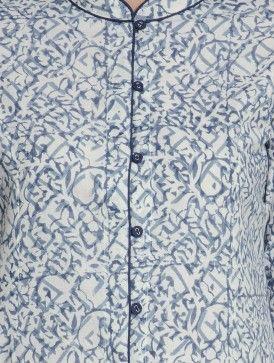 Indigo-White Kalamkari Printed Button Down Cotton Kurta by Jaypore