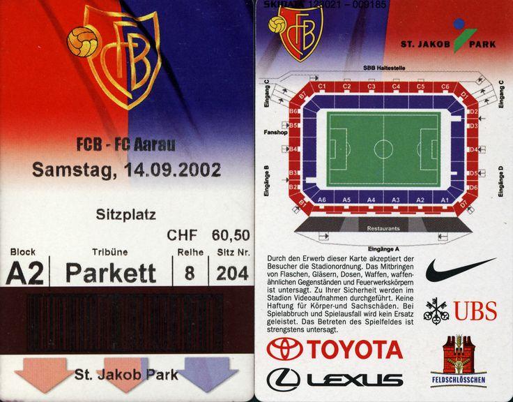 FC Basel - FC Aarau, 14.9.2002, St. Jakob Park, Basel #Basel #Aarau #Ticket