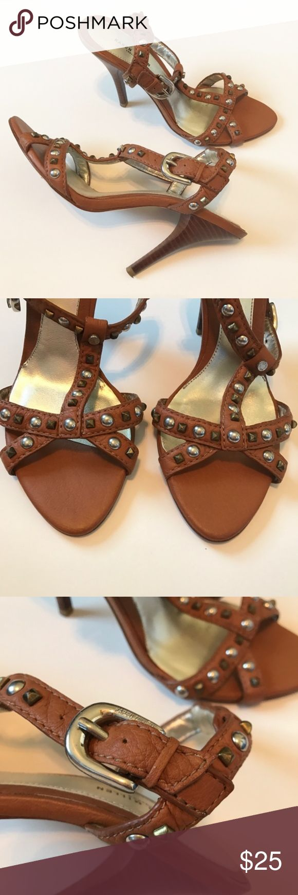 """KAREN MILLEN Tan Heeled Studded Sandal Size 40 9US Good condition Karen Miller brown/tan heeled sandal with silver-tone hardware buckle and studded accents.   Size 40 - equivalent to size 9.   Heel height is 4 1/2"""". Karen Millen Shoes Sandals"""