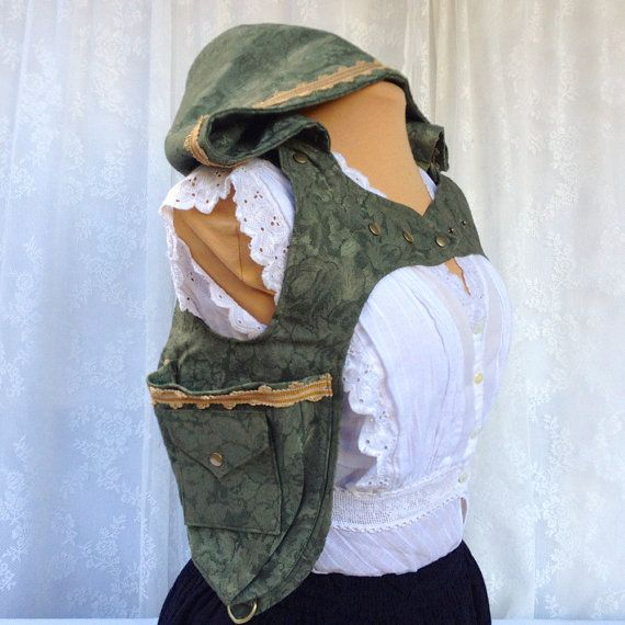 Olive green steampunk holster hoodie  by bluemoonkatherine on Etsy