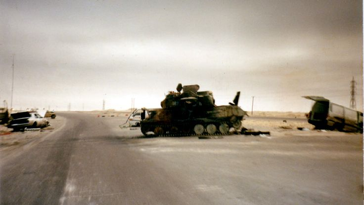 An Iraqi ZSU-23-4 Shilka destroyed before doing anything to Coalition Forces, Operation Desert Storm.