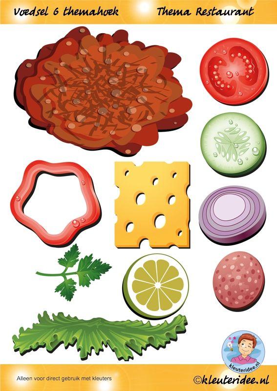 Voedsel 6 themahoek, thema restaurant, juf Petra van kleuteridee.nl, Restaurant role play,food, free printable
