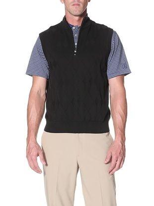 PGA TOUR Men's Argyle 1/4 Zip Mock Vest (Black)