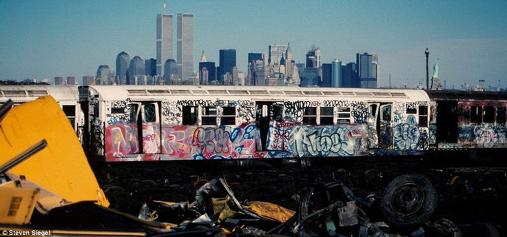 Iconic: The graffiti-strewn New York City subway used to be a common sight, but the carriages were cleaned in the late 1980s and graffiti ne...