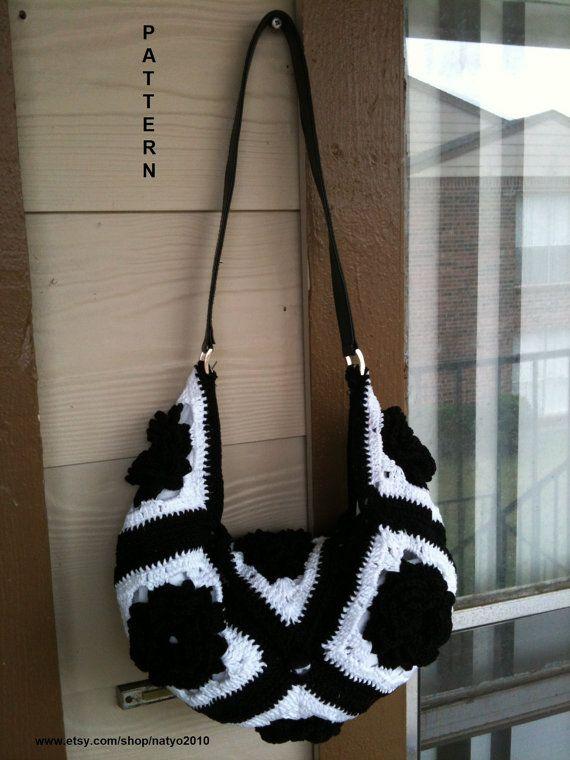 Black and White Hobo Crochet Flower Bag Pattern PDF File: PERMISSION SELL finish product via Etsy