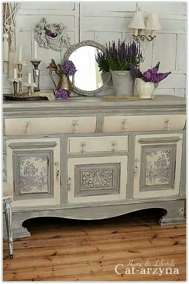 Dresser Gray And Ivory Paint With Fabric Panel Inserts