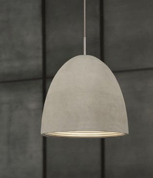 Concrete Pendant - 3 sizes, this sleek and versatile pendant would suit both commercial and residential interiors - either hung as one feature pendant or in clusters or rows above a bar, table or kitchen island.  The fitting is beatutifully constructed with a cast concrete exterior finish, anodized silver interior, polished chrome detailing and textile grey cord.   Small Pendant Height: 10.8cm// Width: 12cm Medium Pendant Height: 18.2cm//Width: 20.4cm Large Pendant Height: 28.9cm//Width…