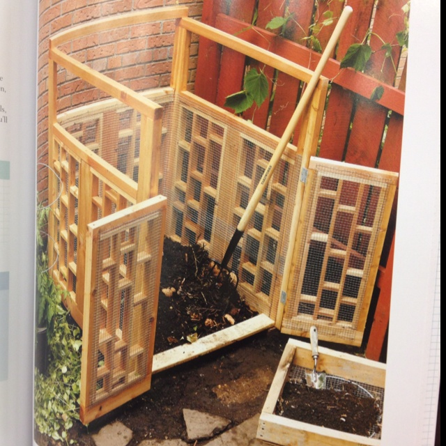 Modern & stylish compost bin .. I found this design in Black & Decker - Complete Landscape book at Lowes. I love this look for a compost bin