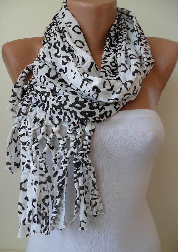 Creamy White and Black Leopard Scarf by SwedishShop on Etsy, $17.90: Valentine'S Day, Scarfs 14 90, Creamy White, Leopard Scarf, Valentines Day, Leopards Scarfs, Scarves, Leopards Prints, Black Leopards