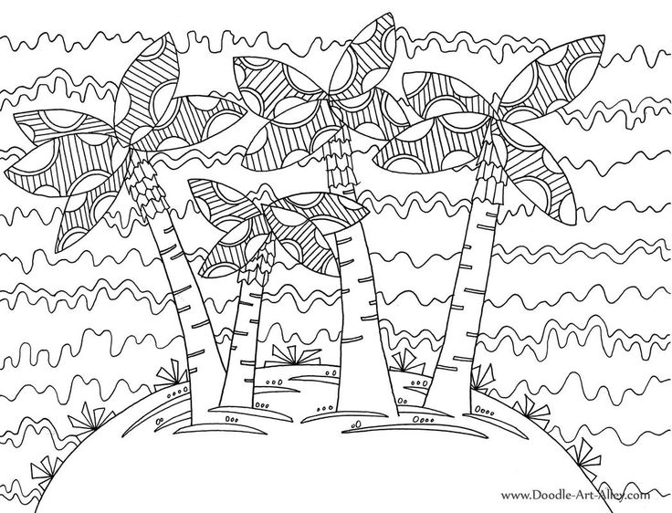 Beach With Palms Coloring Page For Adults