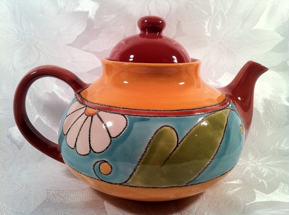 Southwestern Teapot by AnteekMansion on Etsy, $28.99