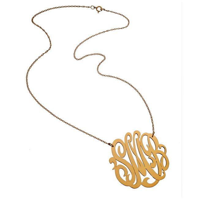 Z10 Large Swirly 3 Initial Pendant - Jennifer Zeuner Jewelry: Birthday Presents, Zeuner Necklace, Rose Gold