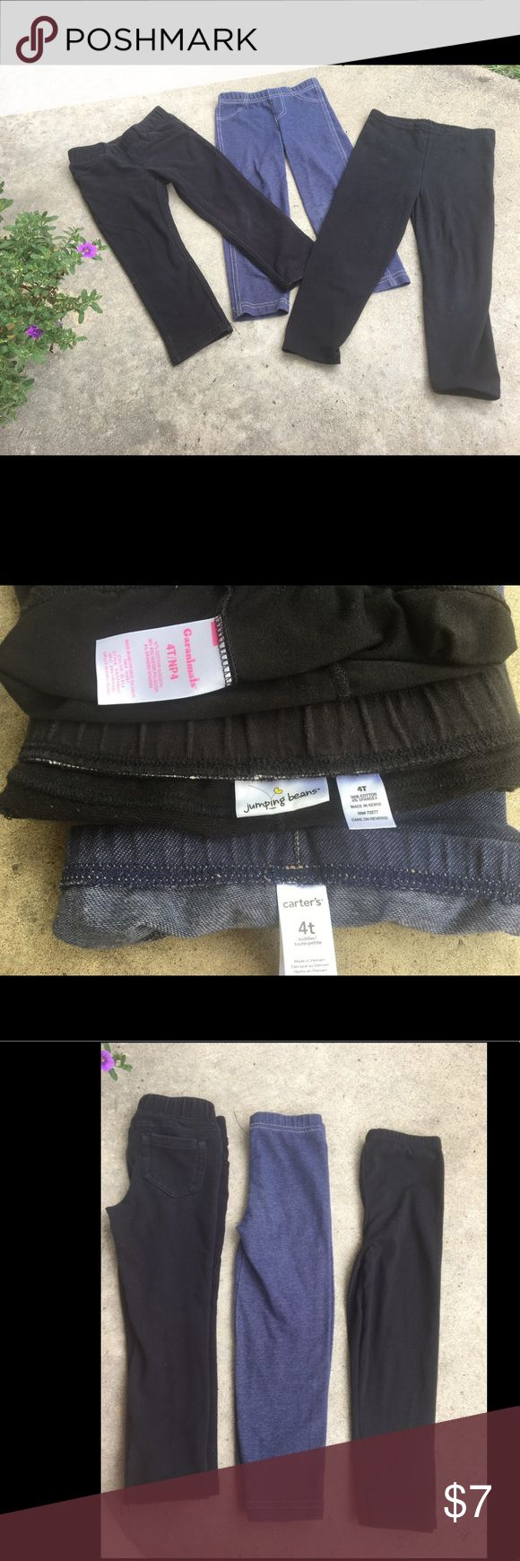 4T girls pants. Lot of three. Lot of three 3T girls pants.  One black pair of Jumping Beans cloth pants.  One pair of Carters blue jeggings.  One pair of black Garanimals leggings.  Smoke free home. Carter's Bottoms Leggings