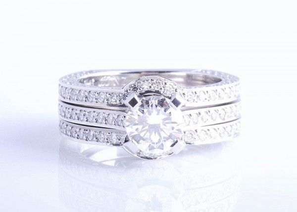 Custom made Jewellery. Fitted diamond ring set. Matching engagement ring wedding ring and eternity ring set. Pave set diamonds on sides, 0.9ct brilliant cut diamond center stone