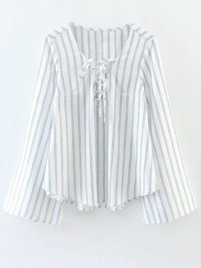 SHARE & Get it FREE   Striped Lace Up Flare Sleeve Blouse - WhiteFor Fashion Lovers only:80,000+ Items • New Arrivals Daily Join Zaful: Get YOUR $50 NOW!