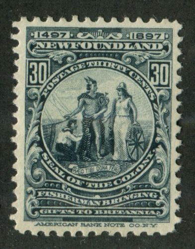 Newfoundland-72-30c-Slate-Seal-of-the-Colony-1897-John-Cabot-Issue-VF-80-OG-HR