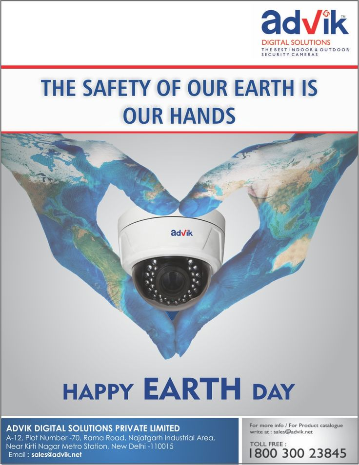 The #safety of our loved ones is in our hands. This #Earthday, make #Earth a safer place with Advik #CCTVsurveillance systems.