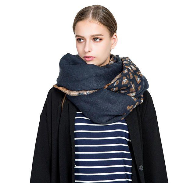 Winter Scarf Women Leopard Cashmere Scarves Wraps Basic Acrylic Wram Shawls Blanket Tassel Scarf