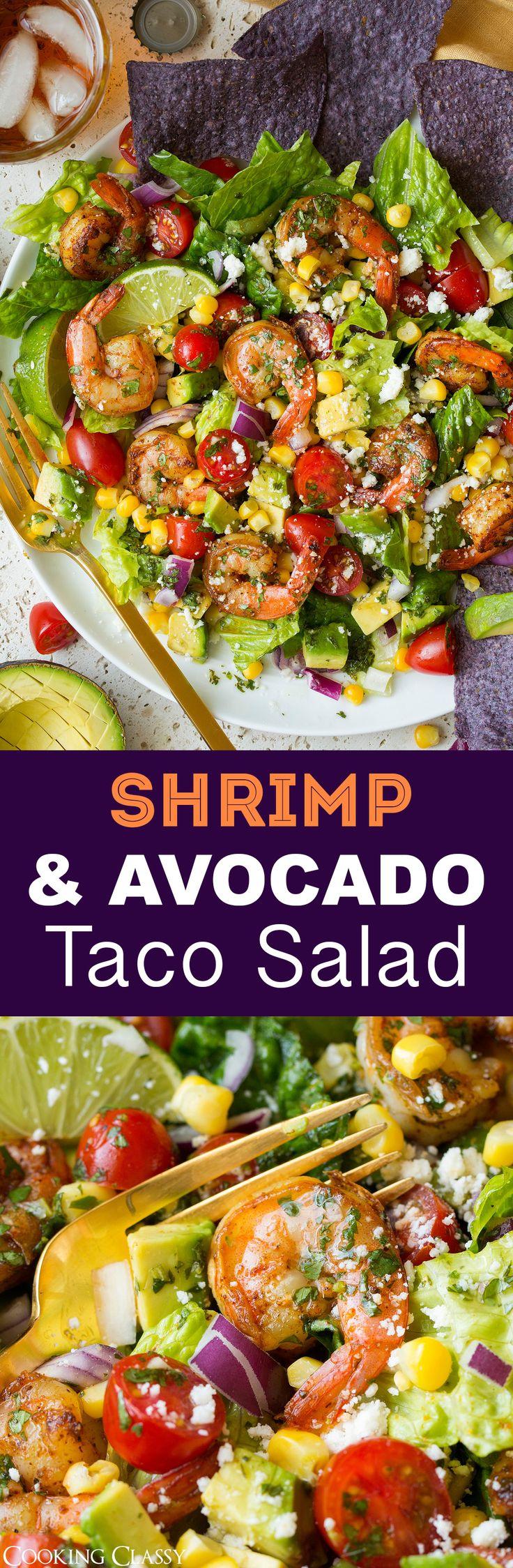 Shrimp and Avocado Taco Salad - Cooking Classy