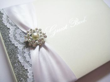 Pearl and sparkly lace guest book