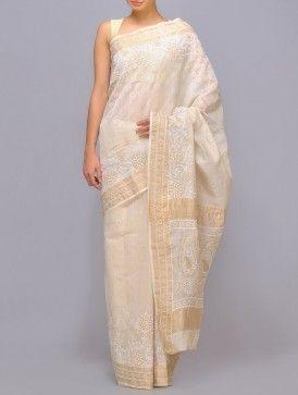 Tissue Chanderi Chikankari Saree
