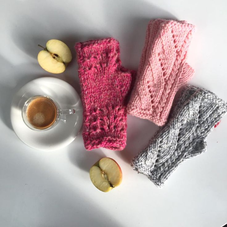 3 pairs of handknitted mittens (wrist warmer, fingerless gloves :-)