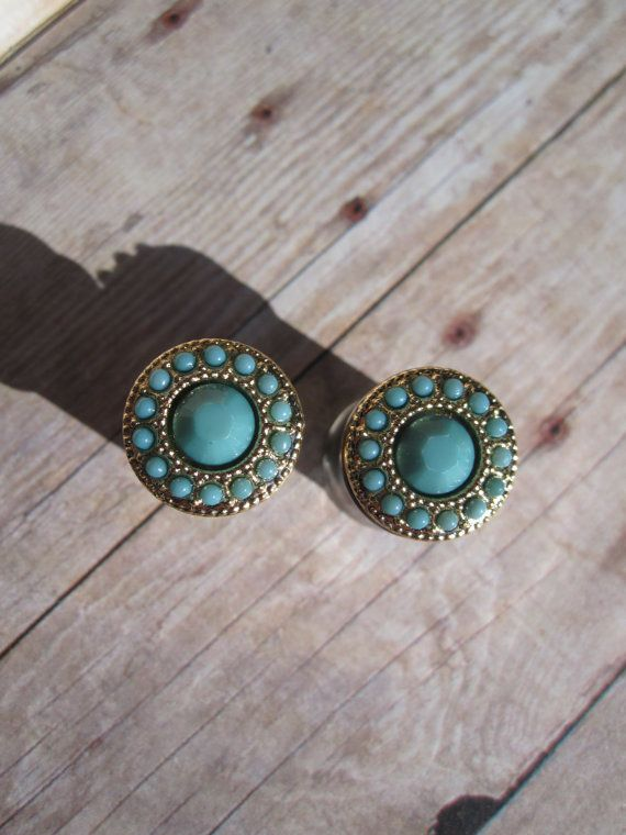 Pair of Turquoise and Gold Plugs - Girly Gauges - Handmade by WhimsyByKrista on Etsy, $25.00 Sizes Available: 4g, 2g, 0g, 00g, 7/16""