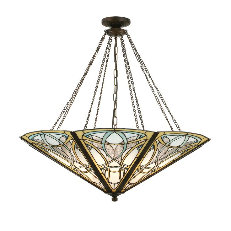 Dauphine 64053 Tiffany Mega Panel Inverted 8 Light Pendant Style Glass Bronze Paint Effect
