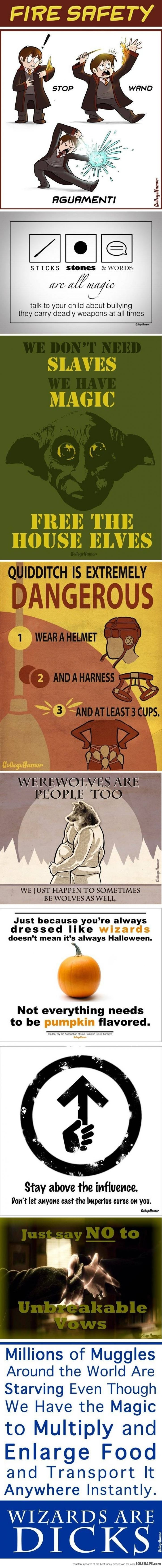 PSAs For Harry Potter...  Funny even though i dont think wizards are dicks.