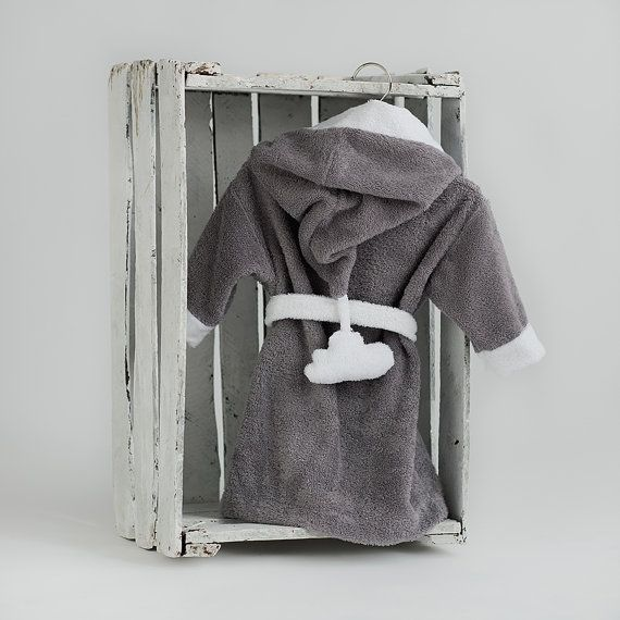 Kids robes Cloud gray white Lounge robe Toddler by CotandCot