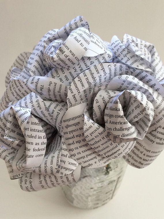 Flores de papel, ramo de página de libro, flores de boda alternativo, único ramo, flores de papel, decoración del hogar, rosas de papel, papel