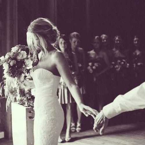 Father letting go of the bride's hand.  Love this shot.