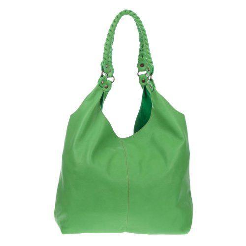MARCO MASI Italian Made Green Leather Oversized Designer Hobo Bag