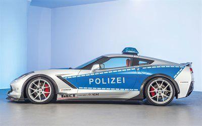 壁紙をダウンロードする ドイツ, コルベット, 警察車, シボレー
