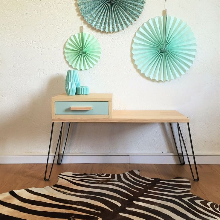 Mid century modern storage bench, Scandinavian and vintage, drawer bench, wood & metal, calcareous green colors, Jules model by ChouetteFabrique on Etsy https://www.etsy.com/listing/260095292/mid-century-modern-storage-bench