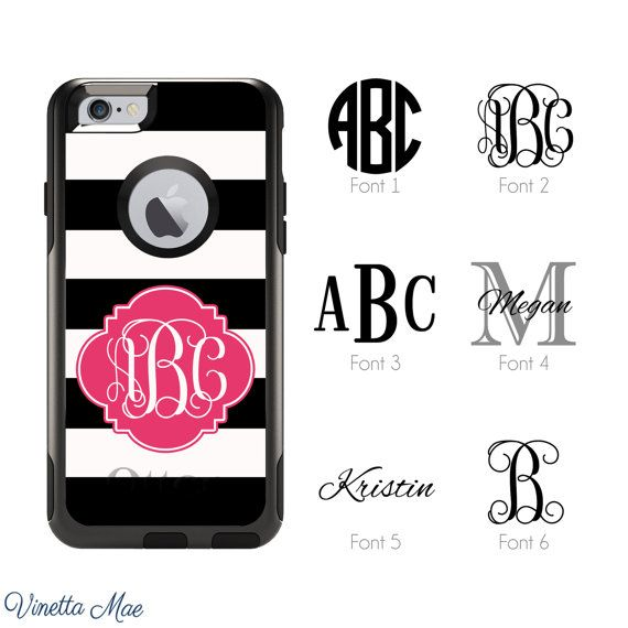 Custom Otterbox Commuter Series phone cases for the iPhone 7 Plus, iPhone 7, iPhone 6s Plus, iPhone 6 Plus, iPhone 6s, iPhone 6, iPhone 5s, iPhone 5, and iPhone SE. (Does not fit the 5c) Customize your iPhone with this monogrammed Otterbox case! These brand new Otterbox Commuter Series cases make awesome gifts or a little something for yourself!  SHIPPING TIME: All of our cases are printed and shipped within 1-2 business days from the time your payment clears. OTTERBOX COMMUTER SPECS…