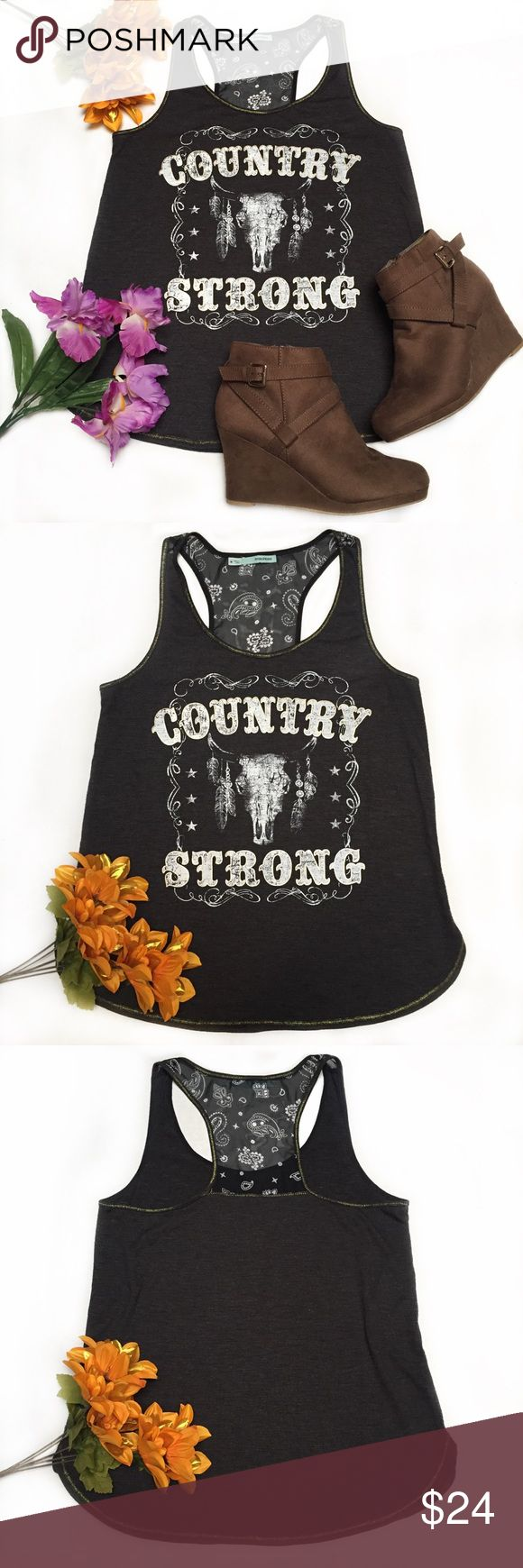 """Maurices COUNTRY STRONG Paisley Razorback Tank Maurices COUNTRY STRONG Paisley Razorback Tank   DETAILS //  • Size: Medium  • Rockin Country Strong, Feathers & Ox graphic • Style: Razorback • Sheer PAISLEY design on back!  • Gold Glittery accents  • Rounded, Side Split bottom hem  • Color: Dark Gray with White text  • Lightweight & Thin  • Material: Polyester/ Rayon   CONDITION // • Excellent Used Condition  • Length: 24.5""""  • Pit to Pit: 17""""  ♡Perfect for Backroads, Country concerts…"""
