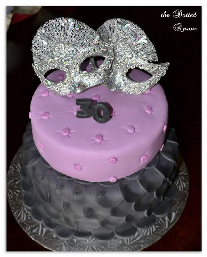 30th. Masquerade cake. Made by The Dotted Apron Bloemfontein. https://m.facebook.com/profile.php?id=703914623013978&refsrc=https%3A%2F%2Fwww.facebook.com%2Fpages%2FThe-Dotted-Apron%2F703914623013978