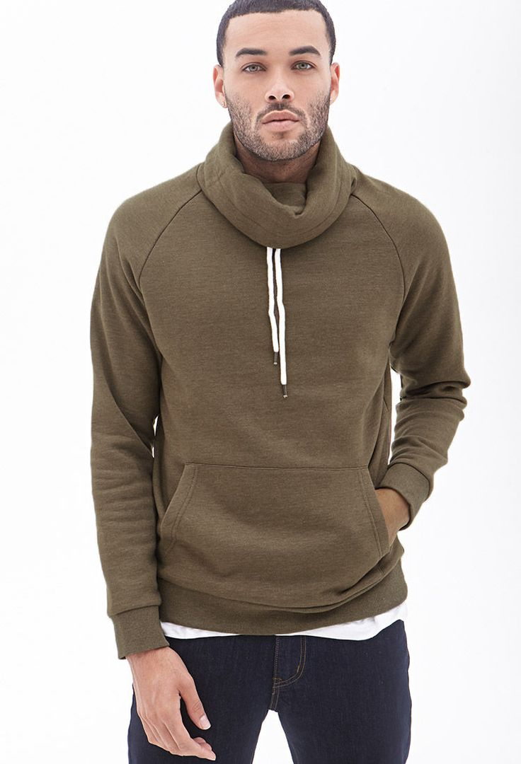 Mens Wool Cowl Neck Sweater Baggage Clothing